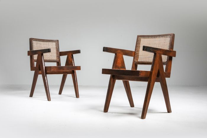 """Set of Jeanneret """"King chair"""" Chandigarh - 1960's"""