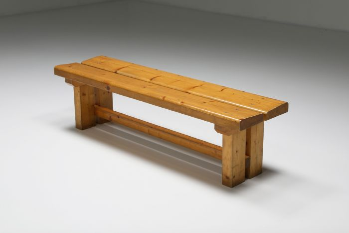 Pine Bench Les Arc Charlotte Perriand, French Modernism - 1970's
