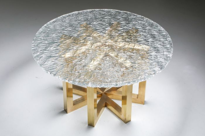 Brass and Cast Glass Round Dining Table by Ettore Gino Poli for Poliarte - 1970s