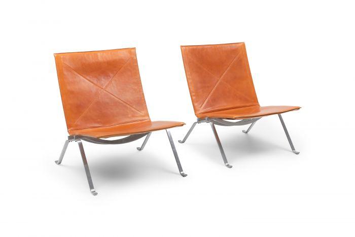 PK22 Cognac Leather Kold Christensen Lounge Chairs - 1960s