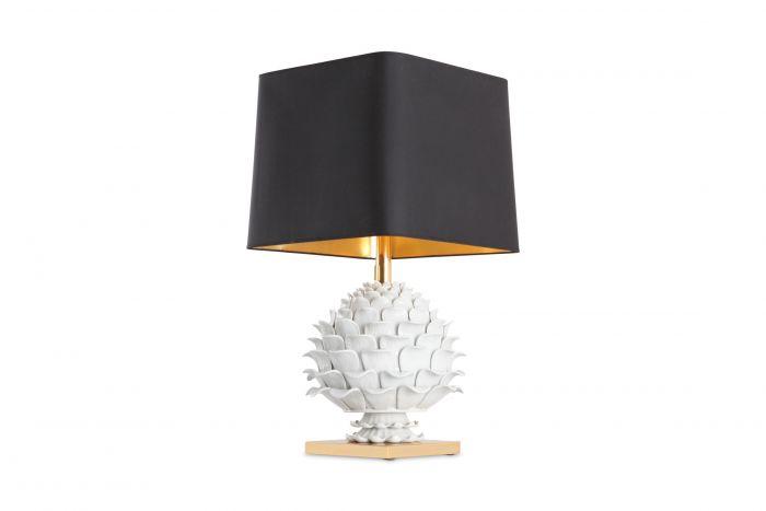 Ceramic and Brass Artichoke Table Lamp - 1950s