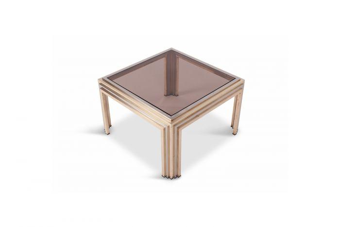 Brass And Chrome Coffee Table, Romeo Rega - 1970s