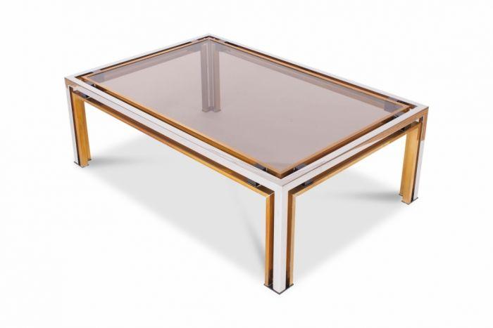 Brass & Chrome Coffee Table, Romeo Rega - 1970s