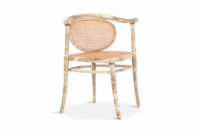 Thonet Chair With Fornasetti Style Print - 1900s