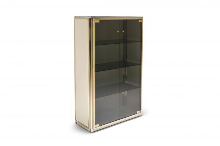 Brass and Chrome Renato Zevi Vitrine Showcase with Glass Doors - 1970s