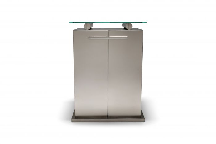 Maison Jansen Cabinet with Floating Glass Top in Brushed Stainless Steel - 1980s