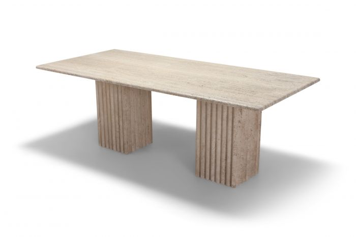 Travertine Dining Table in the Style of Carlo Scarpa and Angelo Mangiarotti - 1970s