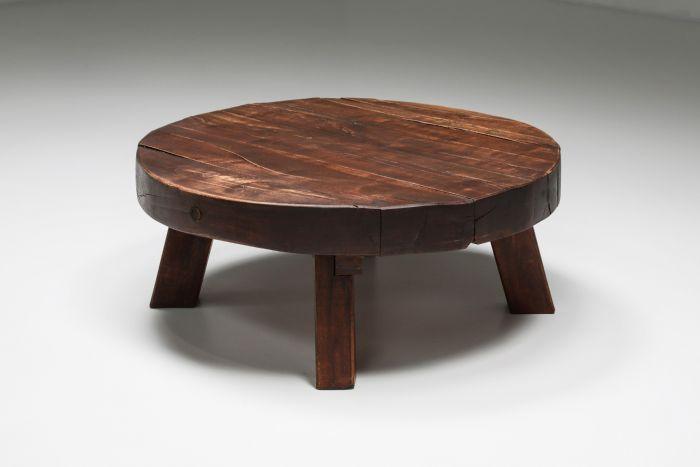Rustic Wabi-Sabi Solid Wood Coffee Table - 1960's