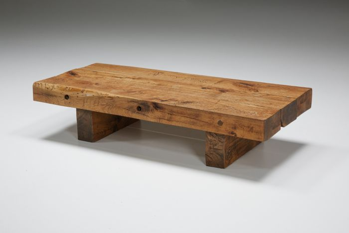 Rustic Solid Wood Coffee Table - 1950's