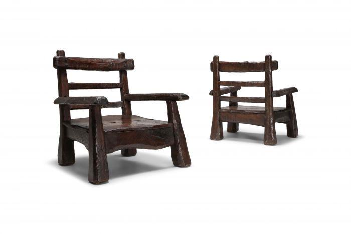Wabi Sabi Rustic Lounge Chairs In Pine - 1950s