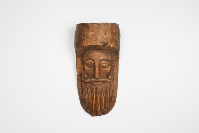 Hand-Carved Rustic Wooden Mask with soft expression - 1900's
