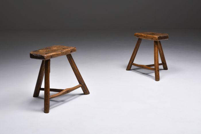 Set of rustic wabi sabi wooden milk stools - 1850's