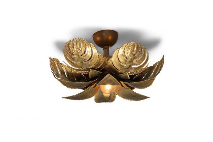 Maison Jansen Regency Brass Palm Chandelier - 1970s