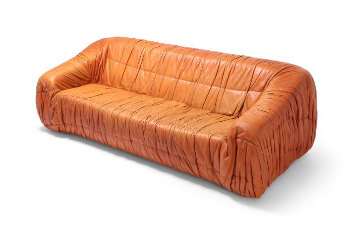 Postmodern Cognac Leather 'Piumino' Sofa by De Pas, D'urbino & Lomazzi - 1970s