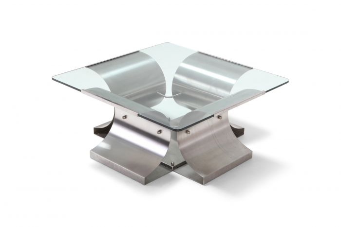 Mid-Century Modern Brushed Steel Coffee Table in the Style of Oscar Niemayer - 1970s