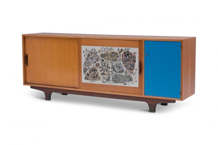 Modernist Sideboard with Perignem Ceramic and Macassar Details - 1950s