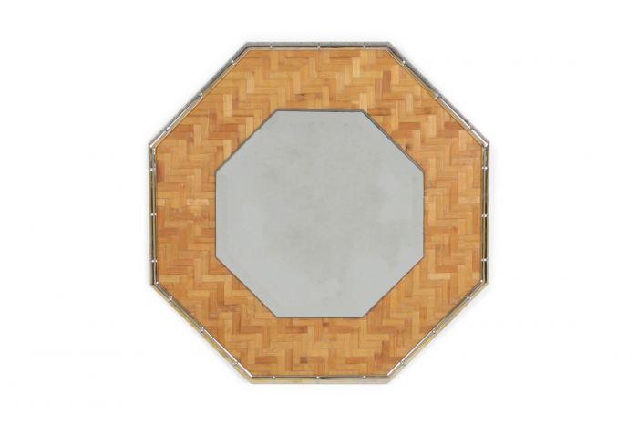 Brass and Bamboo Octagonal Mirror - 1970