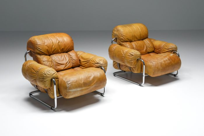 Tucroma Lounge Chairs set By Guido Faleschini for Pace Collection - 1970's