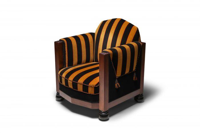 Yellow and Black velvet Art Deco club chair - 1930's