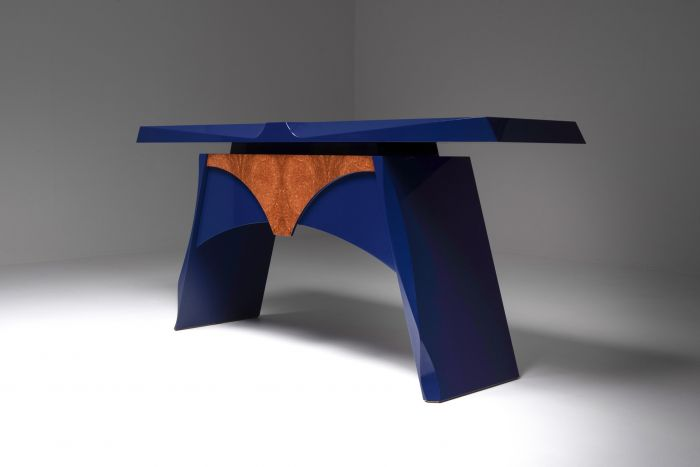 Blue lacquered console table - 1980's