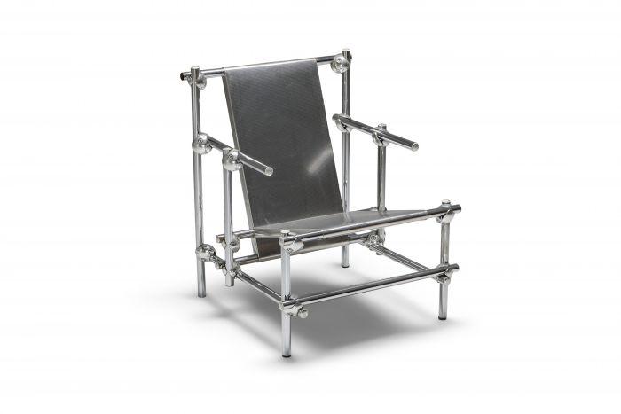 Postmodern Rietveld Style Chromed Metal Lounge Chair - 1970's