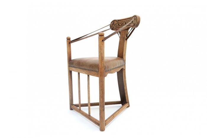 Oak & Leather Amsterdam School Armchair - 1920s