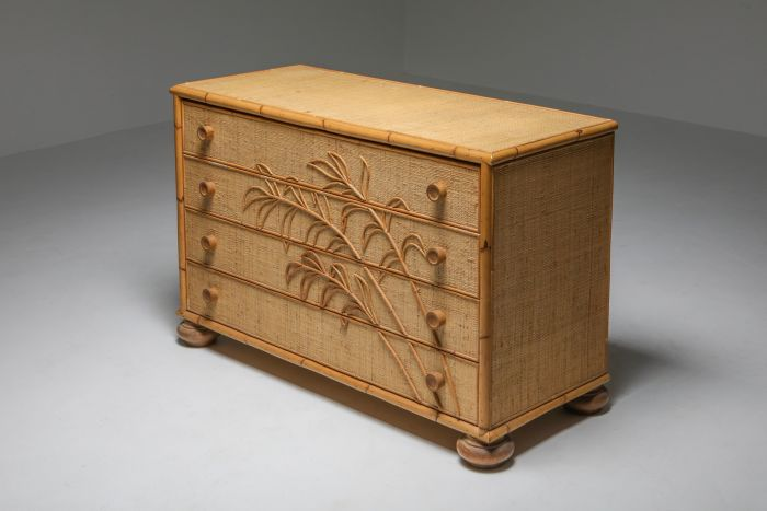 Vivai del Sud Bamboo Chest of Drawers, Italy - 1970's
