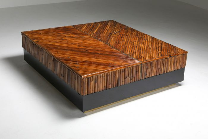 Bamboo, Black Lacquer and Brass Coffee Table, Italy - 1970's