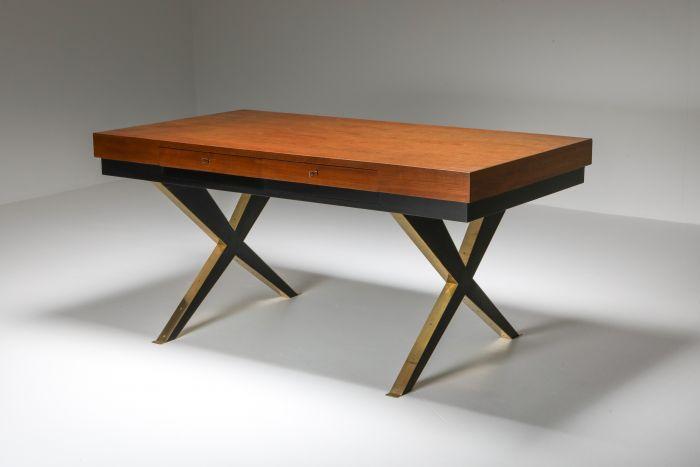 Italian Elegant Desk on Brass X Shaped Legs - 1970's