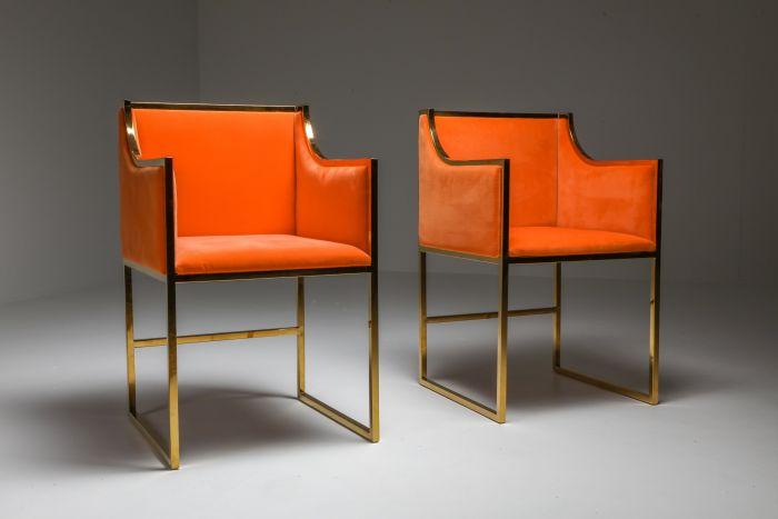 Maison Jansen Dining Armchairs in Brass and Orange Velvet - 1980's