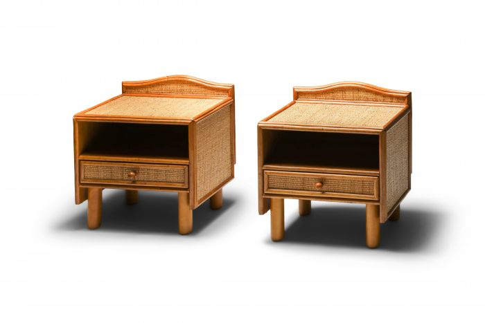 Bamboo & rattan bed side tables Vivai del Sud - 1970's