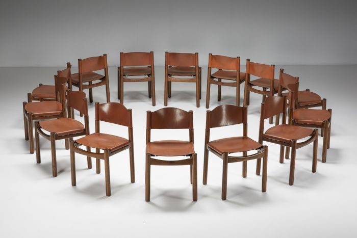 Set of Walnut & Leather Dining Chairs In The Style Of Scarpa - 1950's