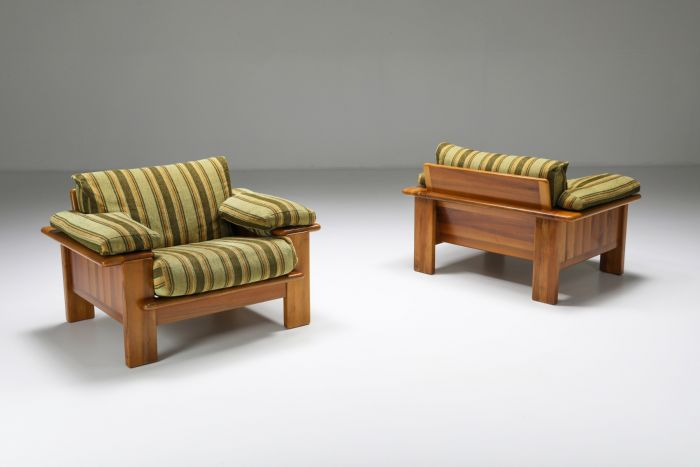 Walnut Lounge Chair In The Style Of Scarpa - 1950's