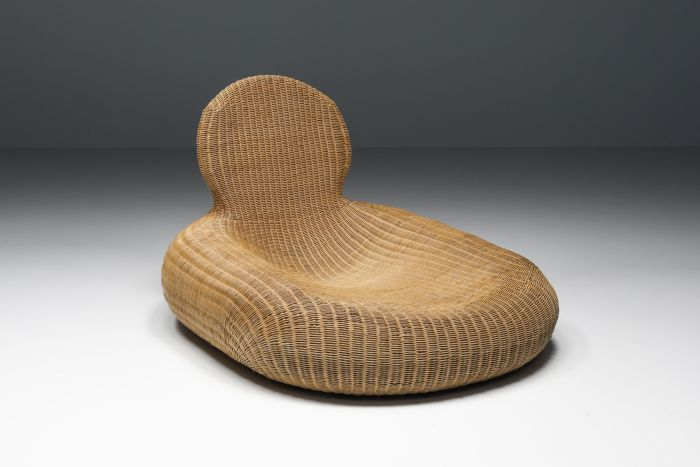 French Wicker Rattan Lounge Chair - 1950's